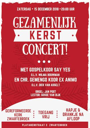 Vanavond 20:00 Gezanmelijk Kerst concert Say Yes & Ex-Animo